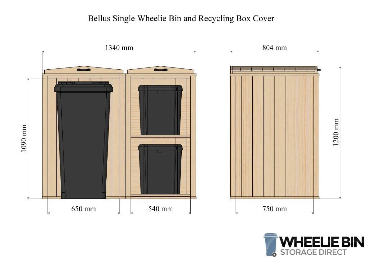 Bellus Single Wheelie Bin and 2 x Recycling Box Storage