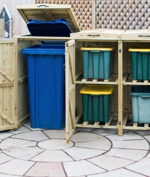 Single Wheelie Bin and 4 Recycling Box Storage