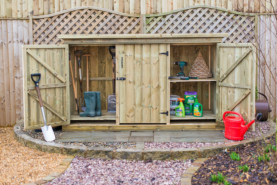 Utilis Triple Garden Storage Unit Doors Open