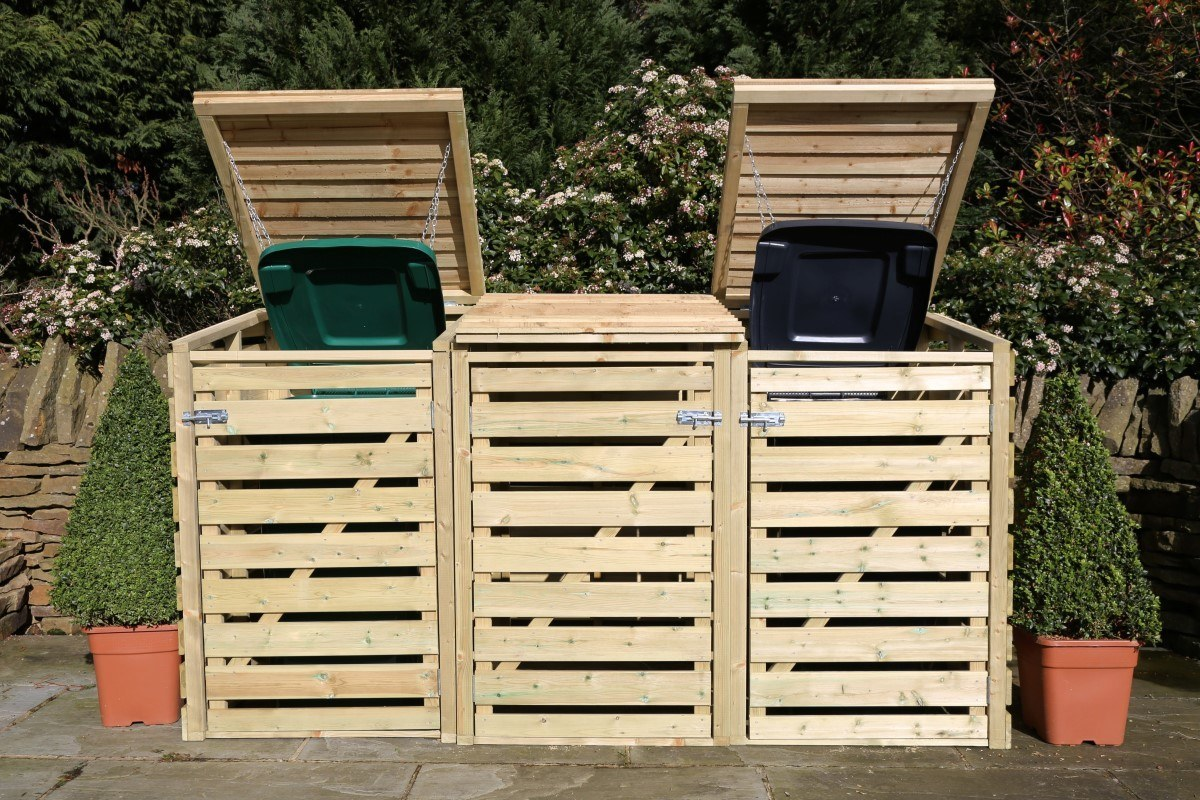 Arbor FSC Certified Triple Wheelie Bin Storage ...