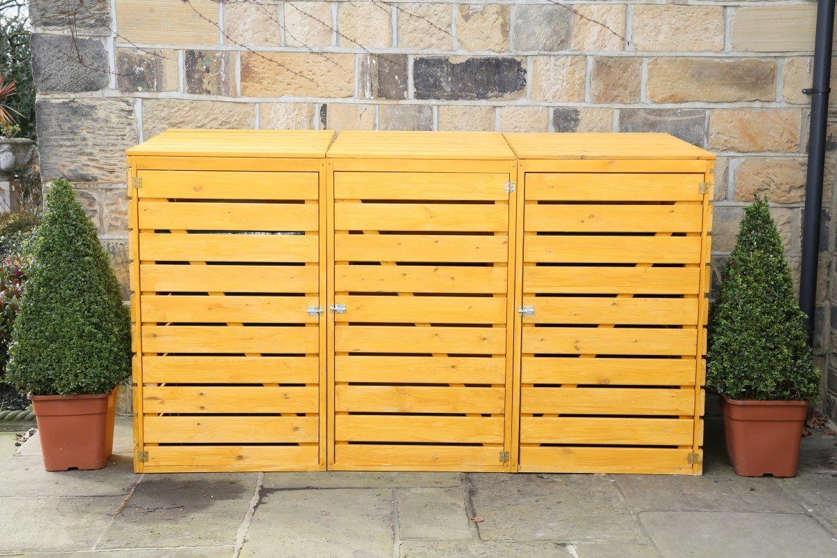 home recycling bin ideas with Triple Wheelie Bin Storage on 50 Easy Diy Projects Made From Items In Your Recycling Bin moreover Watch also Nine Wacky Ways To Reuse Appliance Parts in addition Streetscape Modern Trash Receptacle p 2659 further Triple Wheelie Bin Storage.