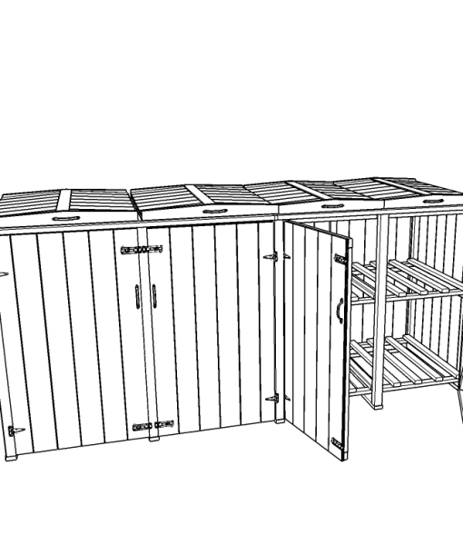 Bellus Double Wheelie Bin & 4 Recycle Box Storage