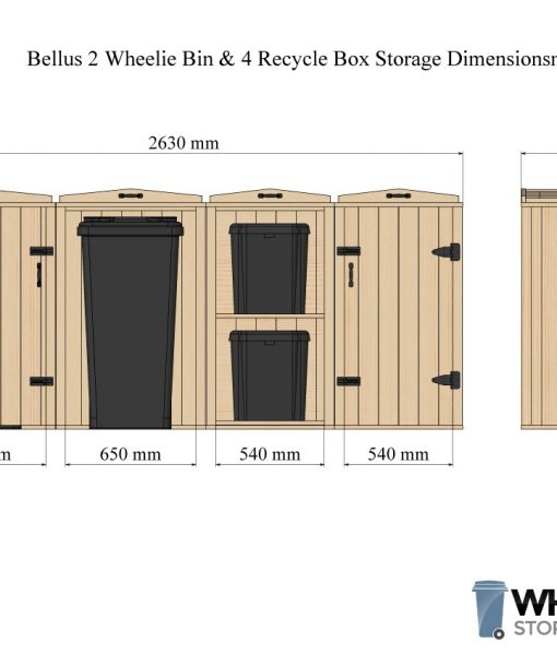 Bellus Double Wheelie Bin & 4 Recycle Box Storage Dimensions