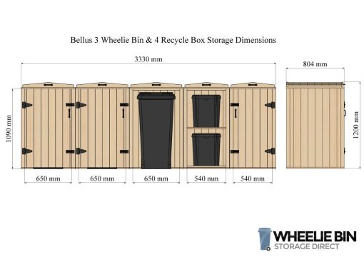 Bellus 3 Bin and 4 Recycling Box Dimensions