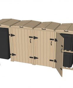 Bellus Double Wheelie Bin & 4 Recycling Box Storage