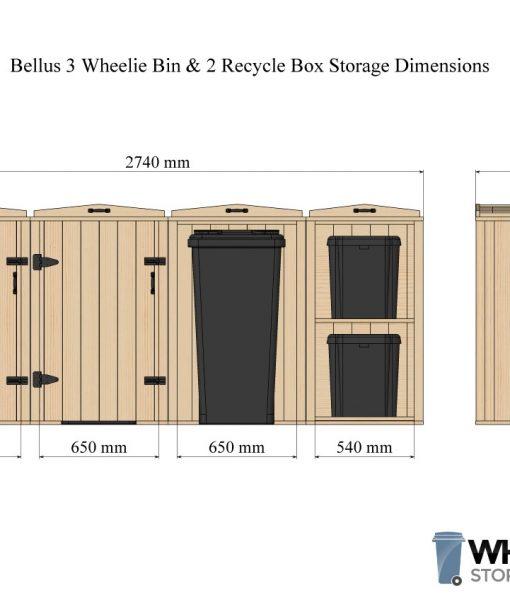 Bellus Triple Wheelie Bin & 2 Recycling Box Storage