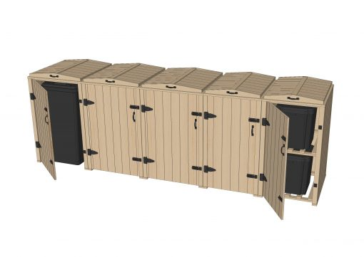 Bellus Triple Wheelie Bin & 4 Recycling Box Storage