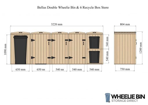 Bellus Double Wheelie Bin & 6 Recycle Box Store