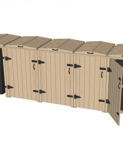 Bellus Double Wheelie Bin & 6 Recycling Box Storage