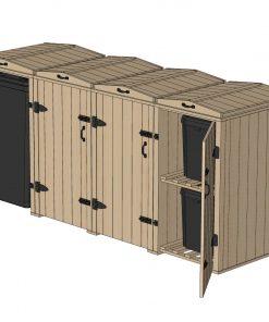 Bellus 1 Wheelie Bin and 6 Recycling Box Storage
