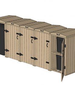 Bellus 1 Wheelie Bin and 8 Recycling Box Storage